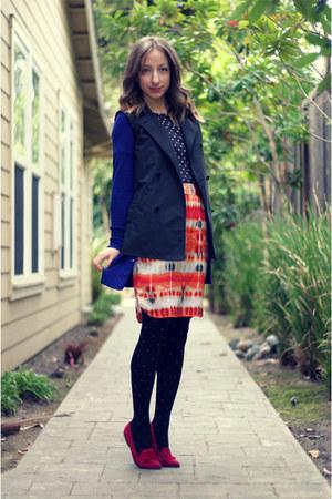 hot pink vintage loafers - black Forever 21 tights - blue Forever 21 cardigan