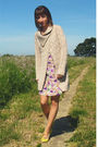 Purple-new-deal-dress-yellow-target-shoes-beige-thrifted-from-crossroads-car
