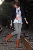 orange Steve Madden boots - black BCBGgirls blazer - white Pipeline t-shirt - gr