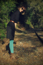 green Urban Outfitters tights - black H&M cardigan - Self Made dress - brown thr