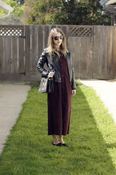 black Marc Jacobs bag - crimson vintage dress - black Steve Madden loafers