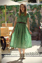 green self-made dress - heather gray Target boots - dark brown OASAP belt