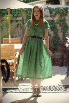 green self-made dress - heather gray Target boots - dark brown OASAP belt