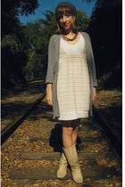 gray Target cardigan - gray Urban Outfitters hat - beige self-made dress - beige