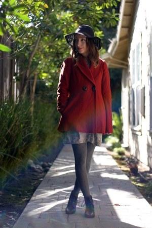 heather gray BDG dress - black Wet Seal boots - brick red random coat