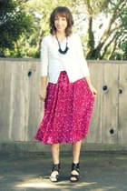 hot pink salvation army thrifted skirt - ivory new york & co cardigan - black Ta