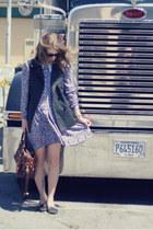 violet thrifted dress - dark brown OASAP bag - black AJ Morgan sunglasses