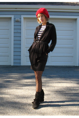 black H&M sweater - white Forever 21 top - black Wet Seal belt - black Forever 2