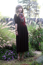brick red H&M scarf - dark brown handmade dress