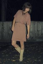 beige Self Made dress - beige Vintage costume tights - beige Aldo boots - brown