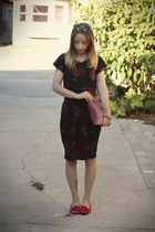 black jersey self-made dress - maroon DIY purse