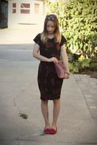 black jersey self-made dress - maroon DIY purse