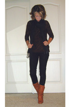 black Wet Seal jeans - orange Steve Madden boots - brown self-made top