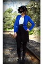 blue New York & Co cardigan - black Salvation Army skirt - beige crossroads top