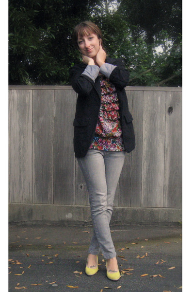 black Macys blazer - pink Wet Seal blouse - gray Wet Seal jeans - yellow Target