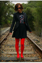 black self-made skirt - black BCBGgirls blazer - red welovecolors tights - brown