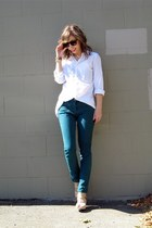 teal Kill City jeans - white New York and Co blouse - beige Target wedges