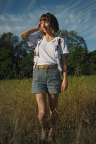 white American Apparel t-shirt - white Self Made vest - gold thrifted belt - blu