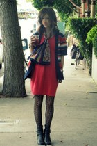 blue Heritage sweater - black second hand boots - red self-made dress
