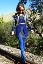 blue Forever 21 cardigan - blue self-made dress - blue Wet Seal tights - gray We