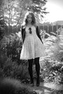 White-handmade-dress-black-target-tights-black-payless-pumps