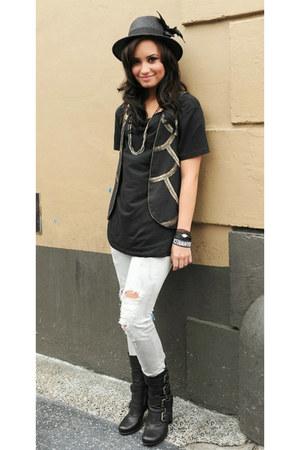 boots - fedora hat - shirt - black vest - denim pants