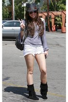 boots - fedora hat - long tee shirt - bag - shorts - sunglasses
