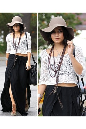 maxi skirt skirt - hat - lace top top - necklace accessories - wedges