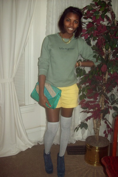 Old Navy shorts - Forever 21 purse - UO socks - Jeffrey Campbell heels