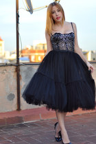 black Dolce & Gabbana top - black tutu handmade skirt - black Uterque heels