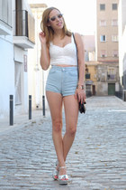 periwinkle denim Topshop shorts - black floral Urban Outfitters bag
