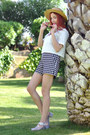 Beige-canotier-vintage-hat-white-oasap-shirt-black-plaid-tara-jarmon-shorts