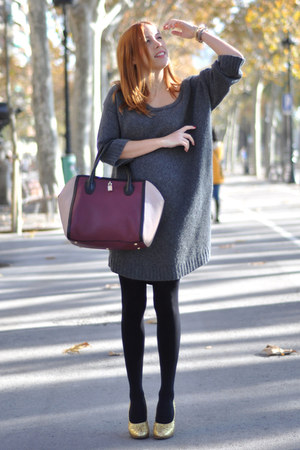 heather gray Miu Miu sweater - brick red Furla bag - gold glitter Miu Miu heels