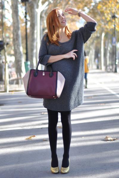 heather gray Miu Miu sweater - brick red Furla bag - gold glitter Miu Miu heels