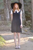 black collar Choies dress - black floppy hat H&M hat