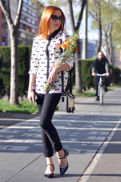 black Cheap Monday jeans - white bow print OASAP shirt - white Topshop bag