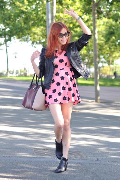 black Uterque boots - bubble gum floral vintage dress - black biker asos jacket