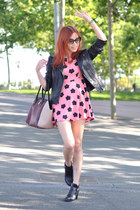black Uterque boots - bubble gum floral vintage dress - black biker asos jacket
