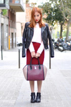 brick red Furla bag - black ankle Uterque boots - black leather asos jacket