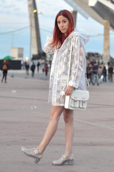 White Rain Topshop Coats Silver Jellies Juju Shoes White