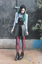 periwinkle topshop denim shirt shirt - black forever 21 PU pinafore dress