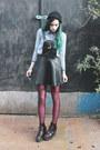 Black-forever-21-pu-pinafore-dress