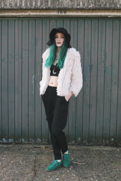 black floppy hat H&M hat - ivory shaggy coat H&M jacket - black H&M top