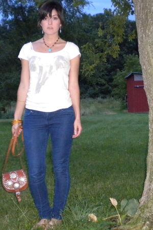brown vintage purse - beige Old Navy shirt - blue handmade necklace
