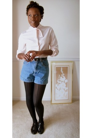 black Oxford shoes - denim jeans thrifted vintage shorts - vintage blouse