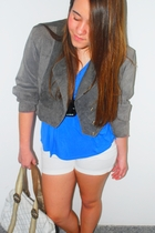 jacket - belt - blouse - shorts - purse - shoes
