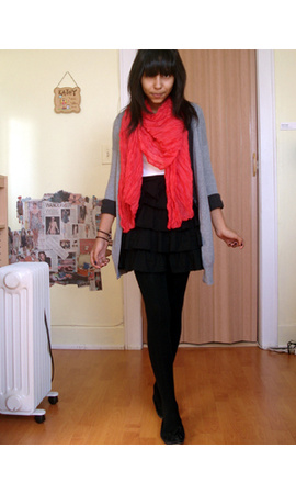 Gap - Express - skirt - H&amp;M scarf - American Eagle t-shirt - Target tights