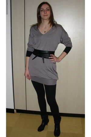 Zara dress - H&M - belt - Zara leggings -