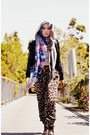 Black-jacket-violet-scarf-heather-gray-scarf-white-top-dark-green-pants