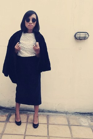black fur Secondhand blazer - black Atsuki Oinishi 1978 skirt